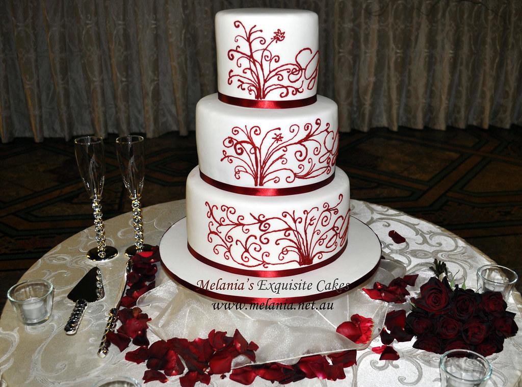 Red Wine Lace Wedding Cake By Www Melania Net Au Flickr