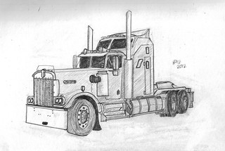 how to draw a kenworth truck
