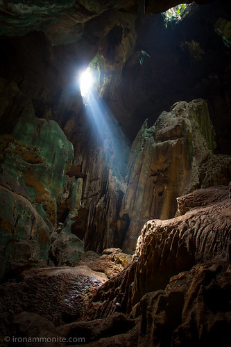 Exploring Niah caves, Borneo - this beam only last a few minutes but WOW! It makes crawling in bat poo worthwhile ;-) | by Paul Williams www.IronAmmonitePhotography.com