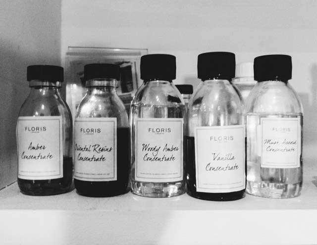 floris perfume ingredients in bottles