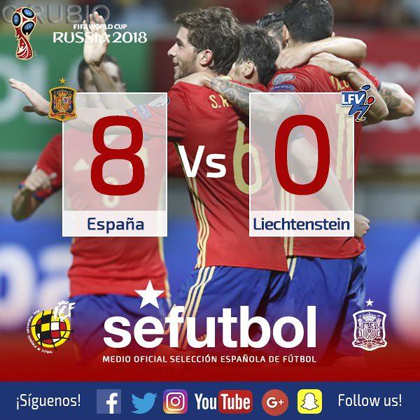 Mundial Rusia 2018: España 8 - Liechtenstein 0