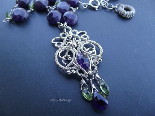 Sterling and Fine Silver Wire Wrapped Necklace Amethyst and Peridot | by AntoniettaVit