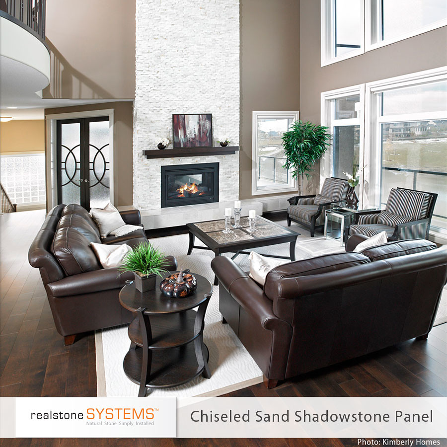 arctic white chiseled sand shadowstone fireplace