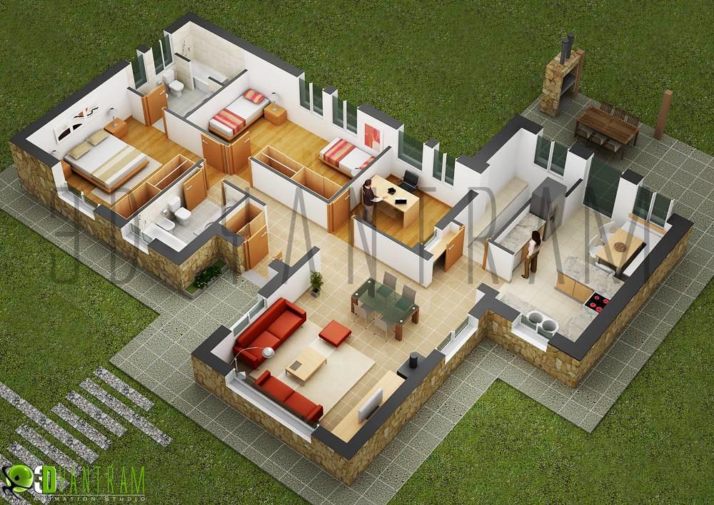 Marvelous ... Home Design 3d Floor Plan | By Yantram Architectural Rendering U0026 3D  Walkthrough