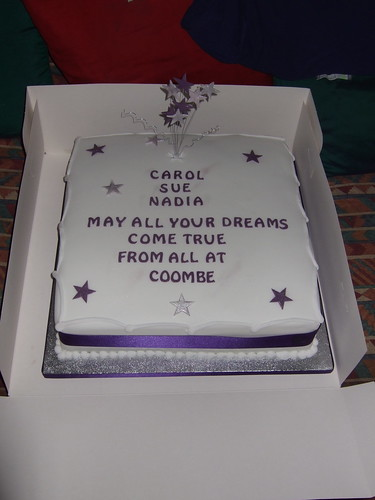 Silver / Purple themed retirement cake | by platypus1974