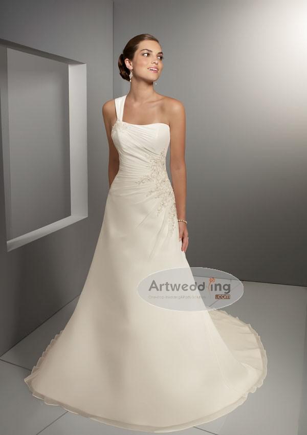 e218d369146 Satin Side Draped Wedding Gown   One shoulder A-line Wedding…   Flickr