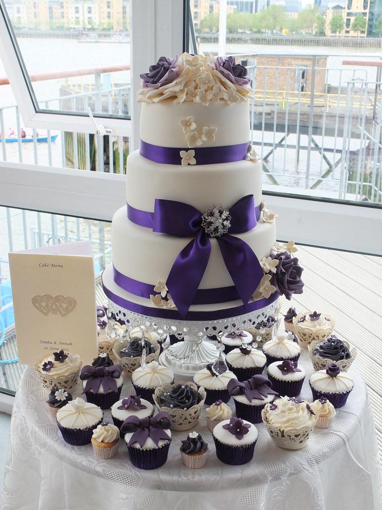 Purple Amp Ivory Wedding Cake