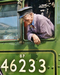 Driver Gordon Hodgson on Footplate Of LMS Steam Loco 46233 'Duchess of Sutherland' - Carlisle 26th May 2012 | by allan5819 (Allan McKever)