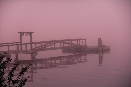 Edgecomb dock at sunset, in the fog | by Amity Beane