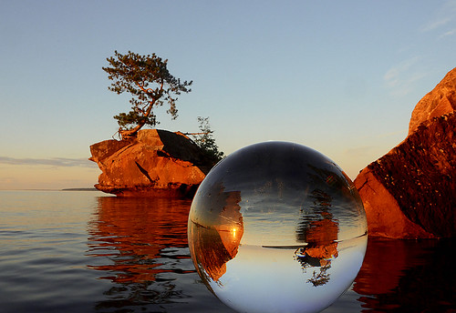 Honeymoon Rock in the Crystal Ball: Basswood Island, Apostle Islands National Lakeshore, WI | by Jeff Rennicke