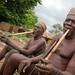 Taneka Beri fetishers smoking traditional pipe. Pays Taneka, Benin