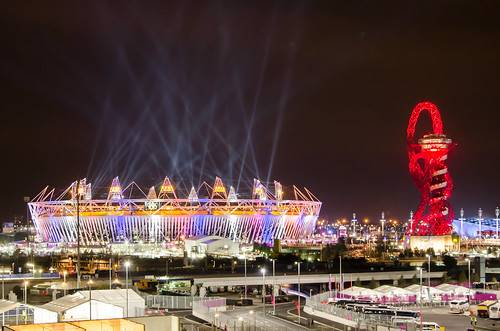 Olympic stadium and The Orbit during London Olympics opening ceremony (2012-07-27) | by Alexander Kachkaev