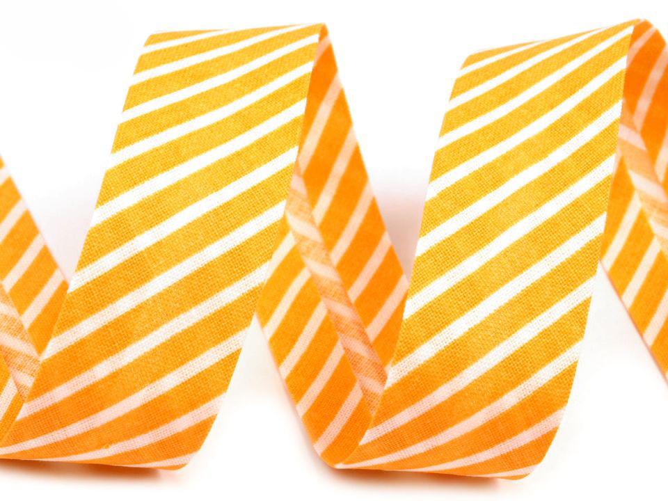 Schrägband Streifen 14mm,gelb-weiß