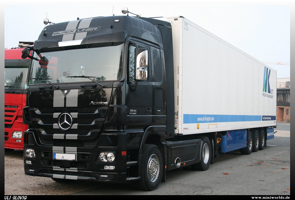 mercedes benz actros 1846 black liner sti freight flickr