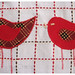 Bird tea towel (red) - detail