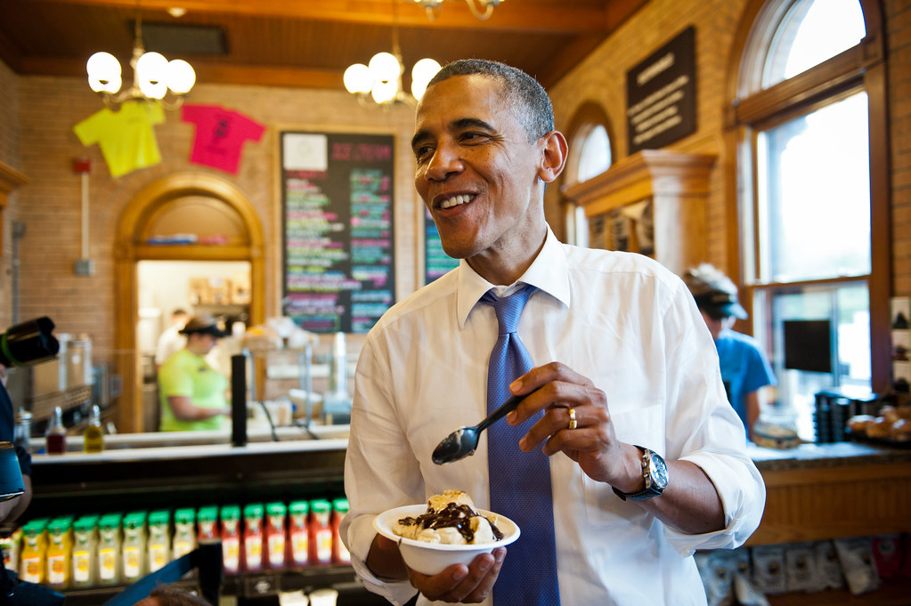 Barack Obama Eating Hot Dog