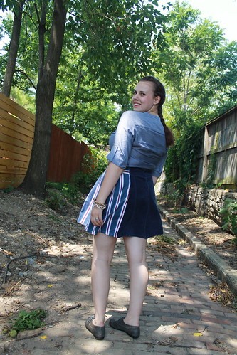 July 3rd Outfit: DIY skirt made from men's shirt sleeves, eyelet oxfords, ruffle chambray shirt, herringbone braid | by Célèste of Fashion is Evolution