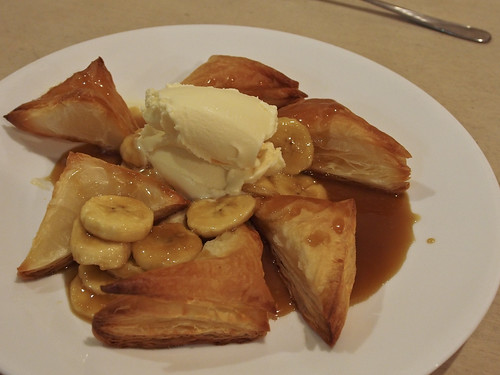 Caramel banana puff pastry triangles and ice cream | by hyteng