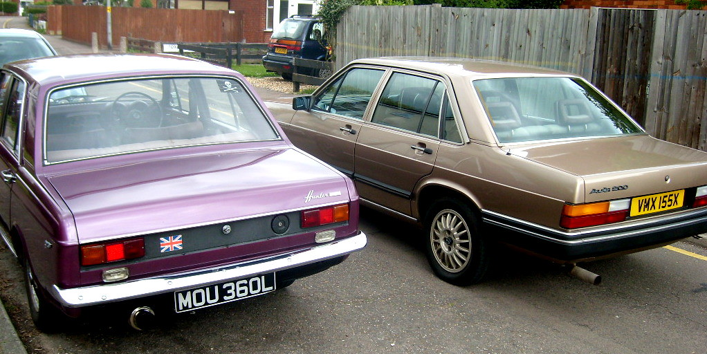 Hillman Hunter And Audi 200 5t The Rear End Of Two
