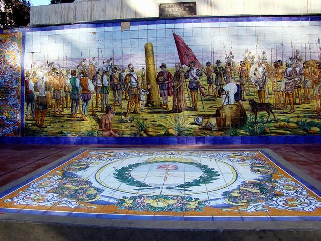 La historia en azulejos plaza espa a mendoza flickr for Azulejos historia