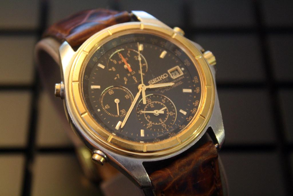 SEIKO 7T52-7A09 1/100 CHRONOGRAPH Analog Quartz Watch