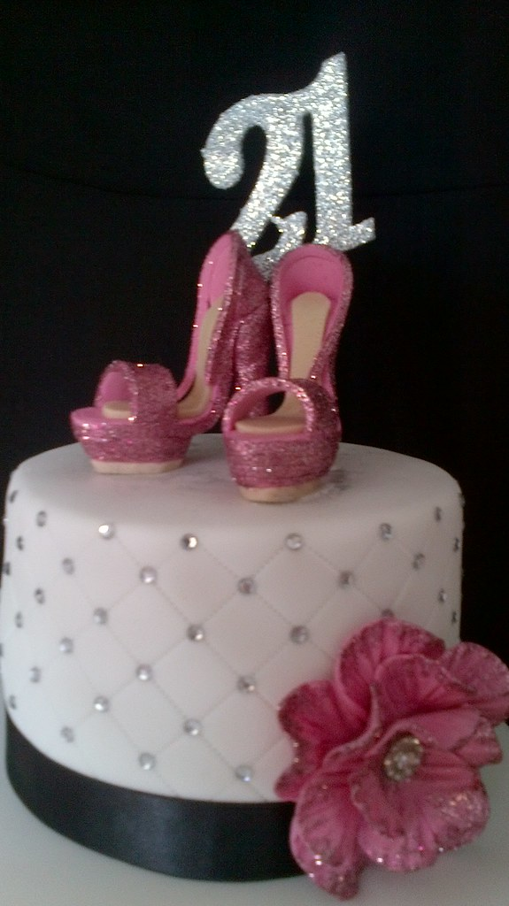 Zebra Shoe Bling Cake Version 2 Two Intact Shoes On A