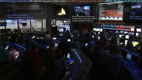 "NASA Deep Space Operations, MSL Mission Operations Flight Control after Mars Science Laboratory lands ""Curiosity"" wheels on Mars and the Deep Space Network Operations Center, Pasadena, California, with text, animated, 2012.08.05 23:15 