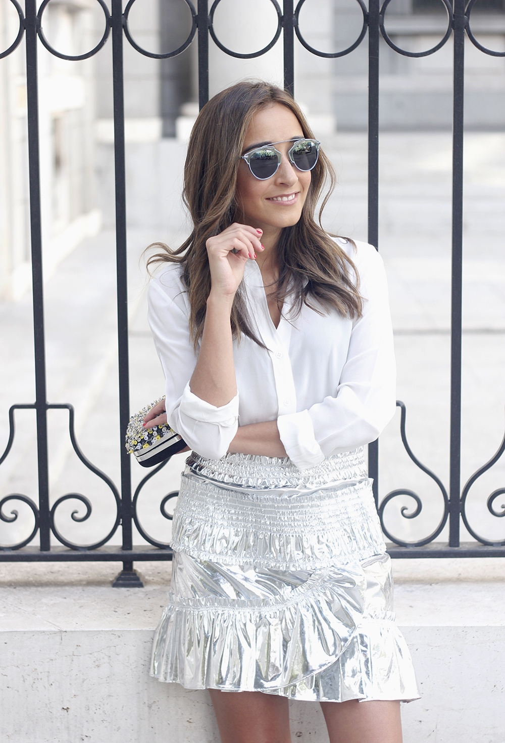 Isabel Marant Metallic Skirt white shirt nude sandals dior so real sunnies outfit style fashion08