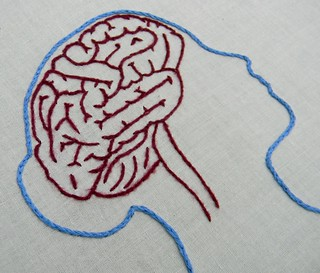 Female Anatomy Brain and Lung Embroidery Hoop Art | by Hey Paul Studios