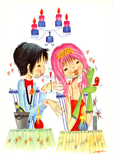 Vintage postcard of a Big Eyed Girl and Boy in Love 4 by Josep | by PrettyPostcards