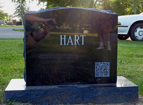 Michael S Hart's grave marker has a QR code on the back | by benchilada