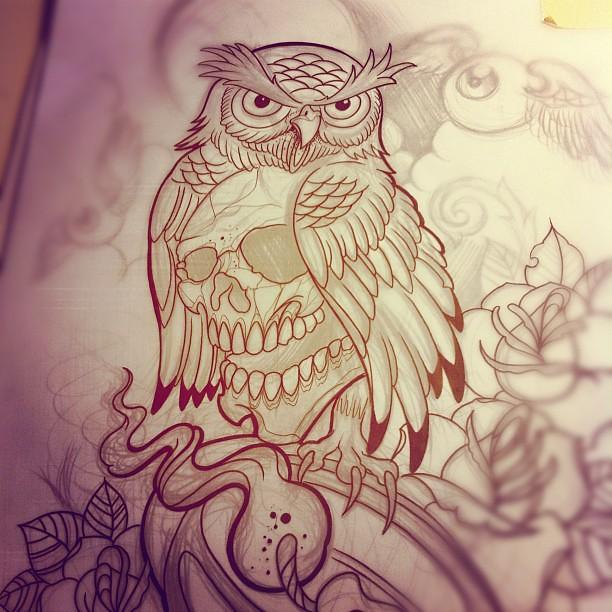 Owl Line Drawing Tattoo : Lines owl lantern rose tattoo willem xsm flickr