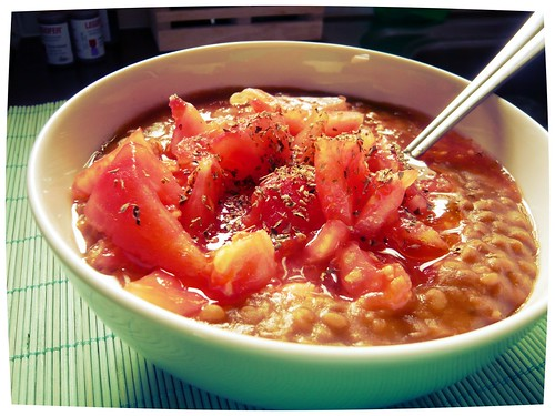 Greek Lentil Soup (Fakes) with skinless tomato | by KYANNE*