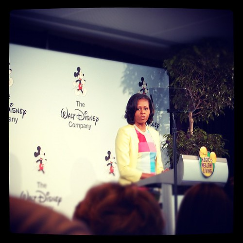 First Lady Michelle Obama! Talking to us about @LetsMove and #disneyhealthyliving. She's beautiful in person! | by MrsMarianaP