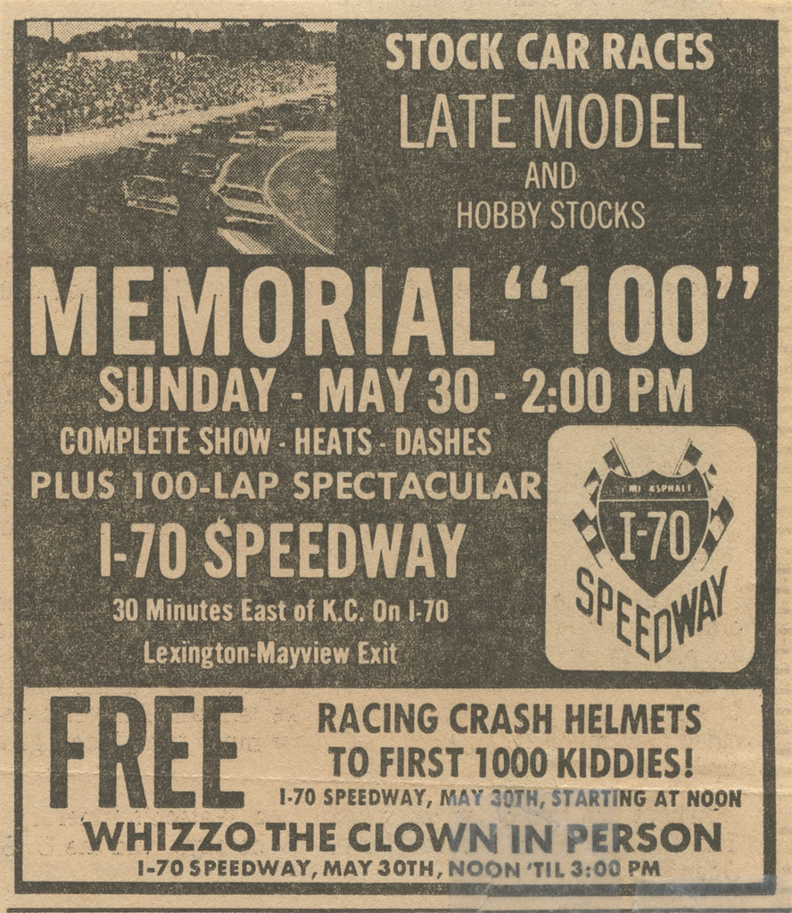 I 70 Speedway With Whizzo The Clown Newspaper Ad 1971