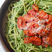 Creamy Spinach Noodles with Roasted Tomatoes