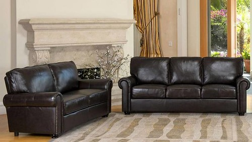 bradford top grain leather sofa and loveseat set
