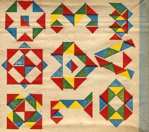 Altes Spielzeug: Farben-Mosaik - Beschäftigungsspiel - Legespiel für Kinder - Farbige Dreiecke, Buchstaben, Zahlen, Figuren - 50er-Jahre - Verlag K. Förster in Ronneburg