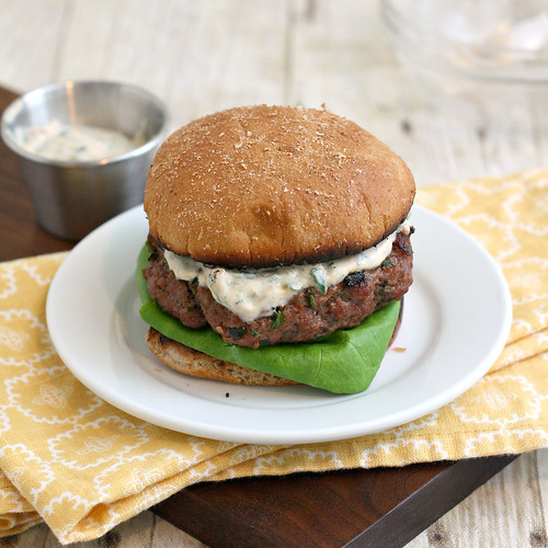 Spicy Poblano Burgers with Chipotle Cream | by Tracey's Culinary Adventures