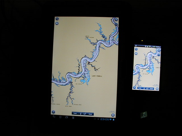Navionics App on tablet & phone   Showing portions of Lake P