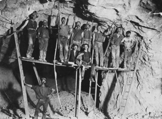 Miners working in a gold mine at Gympie, Queensland Miners Gympie Qld | by State Library of Queensland, Australia