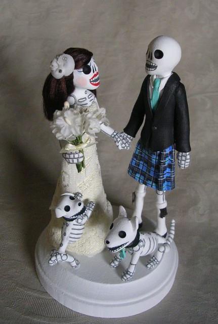 day of the dead wedding cake topper groom in kilt flickr photo