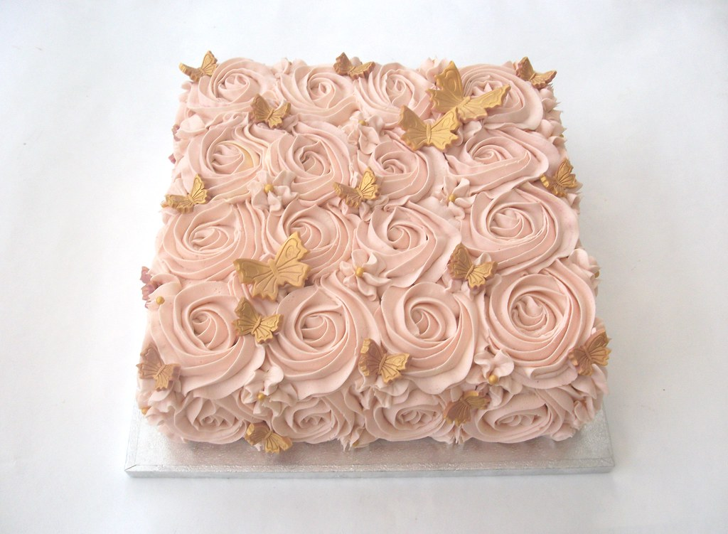 Rose Swirl Gold Butterfly Cake This Is Definitely One Of