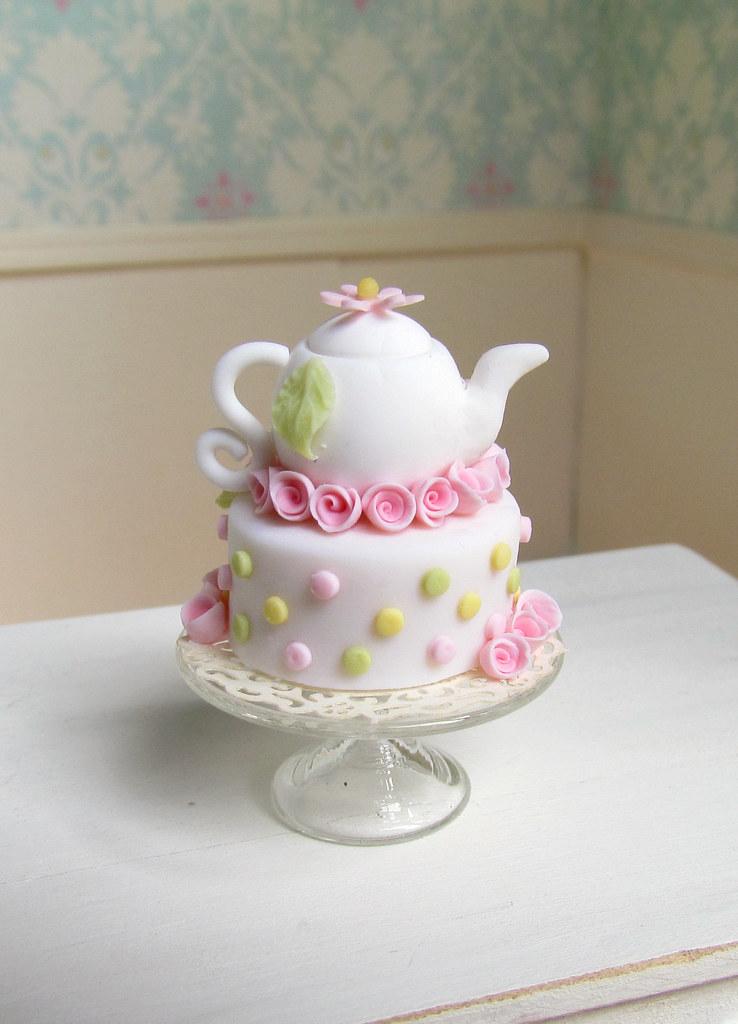 miniature dollhouse tea pot cake goddess of chocolate ...