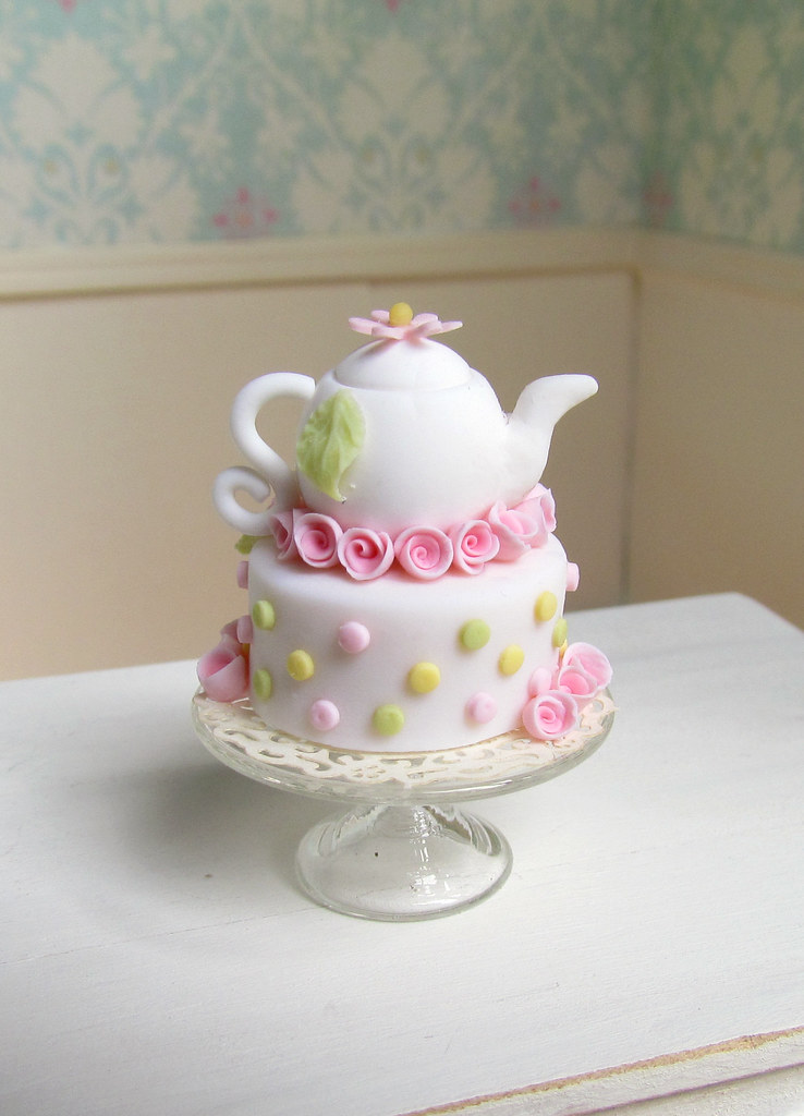miniature dollhouse tea pot cake goddess of chocolate ...