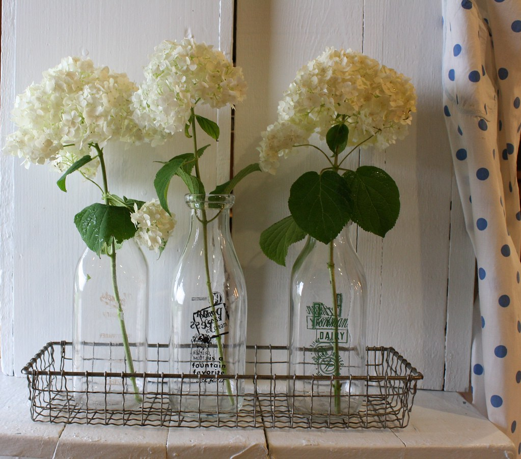 Shabby chic kitchen decor white summer flowers for Kitchen decoration with flowers