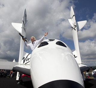 Sir Richard Branson introduces LauncherOne to the world. Photo by Mark Chivers. | by Virgin Galactic