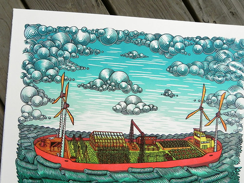 """FARM BARGE"" Woodcut Print (detail) 