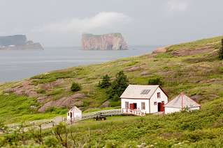 View of Percé rock from Bonaventure Island | by Andrea Schaffer