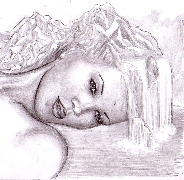 Mother Nature Pencil Drawing